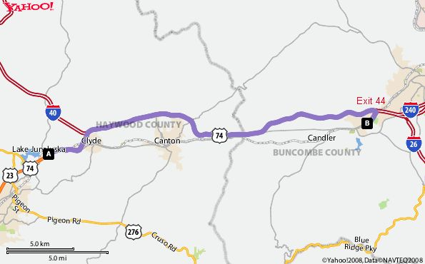 Distance And Travel Time From Asheville Nc To Clyde Nc